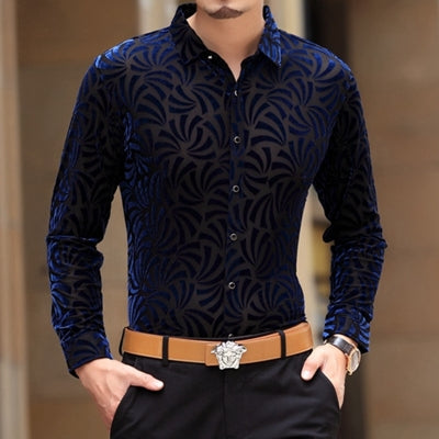 Soft And Comfortable Velvet Long-Sleeved Shirt As Picture 7 / M