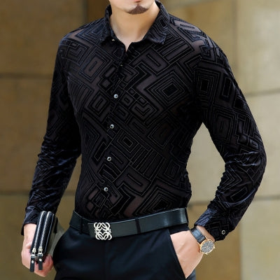 Soft And Comfortable Velvet Long-Sleeved Shirt As Picture 5 / M
