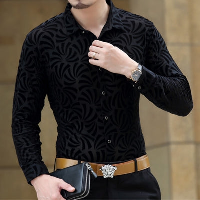 Soft And Comfortable Velvet Long-Sleeved Shirt As Picture 4 / M