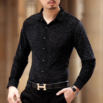 Soft And Comfortable Velvet Long-Sleeved Shirt As Picture 6 / M