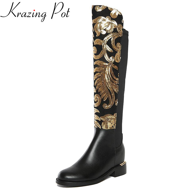 Glitter Knee-High Boot - fazbima