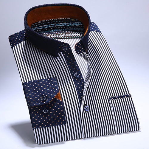 Shirt Corduroy Striped Long Sleeve - Fozbima Accessories