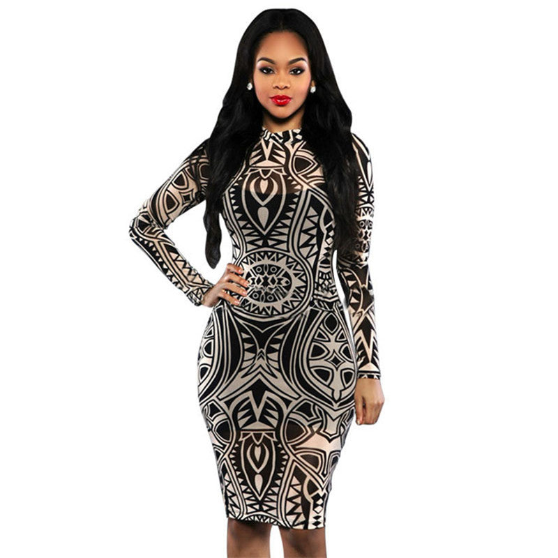 Long Sleeve Digital Print Turtleneck Dress - fazbima