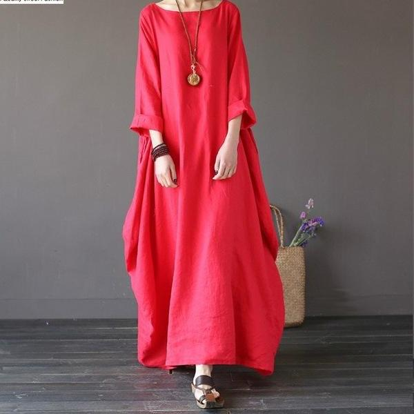 Dress Crew Neck 3/4 Batwing Sleeve Red / L