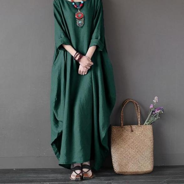 Dress Crew Neck 3/4 Batwing Sleeve Green / L