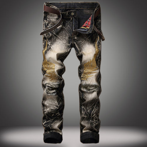 Pants Retro Black Slim Fit Distressed Holes - fazbima