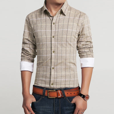 Slim Fit Plaid Shirt Long sleeve - fazbima