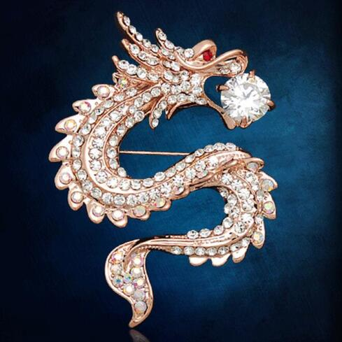 Brooches Dragon Crystal Suit Pin - fazbima