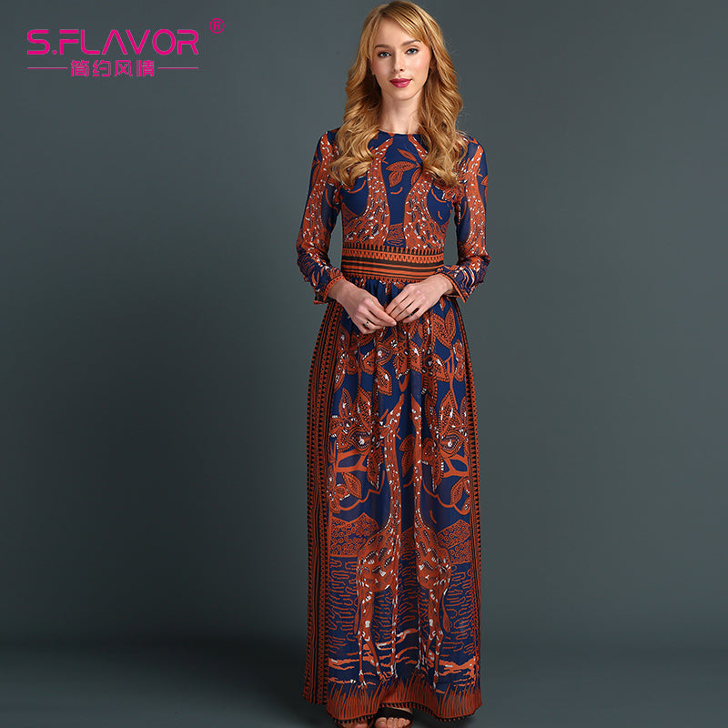 England Style Long Sleeve Deer Printing Long Dress - Fozbima Accessories