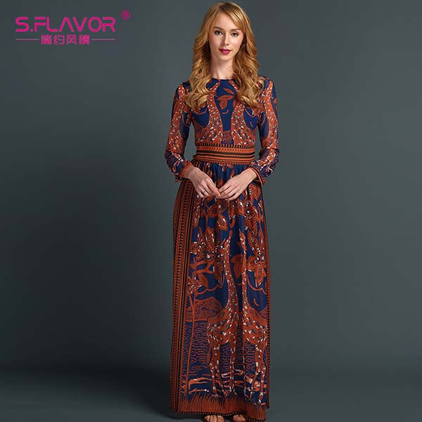 England Style Long Sleeve Deer Printing Long Dress - fazbima