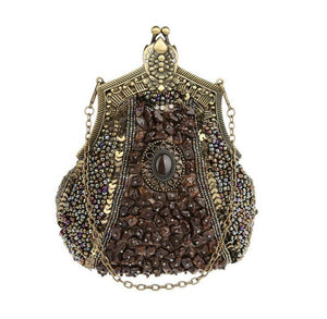 Metal Glass Bead Bridal Clutch Purse - fazbima