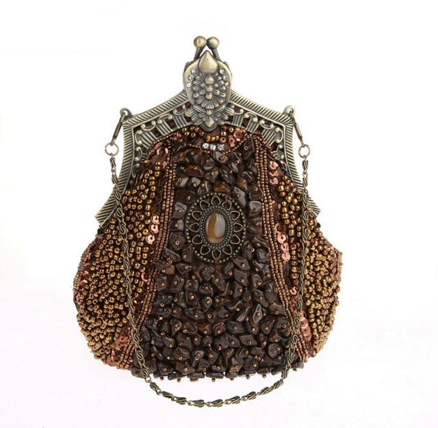 Metal Glass Bead Bridal Clutch Purse - Fozbima Accessories