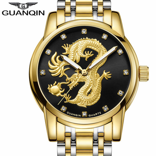 Luxury Gold Dragon Sculpture Quartz Watch - fazbima