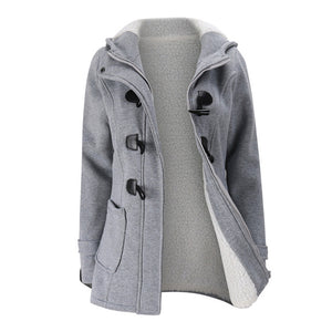 Parka Hooded Zipper Horn Button - fazbima