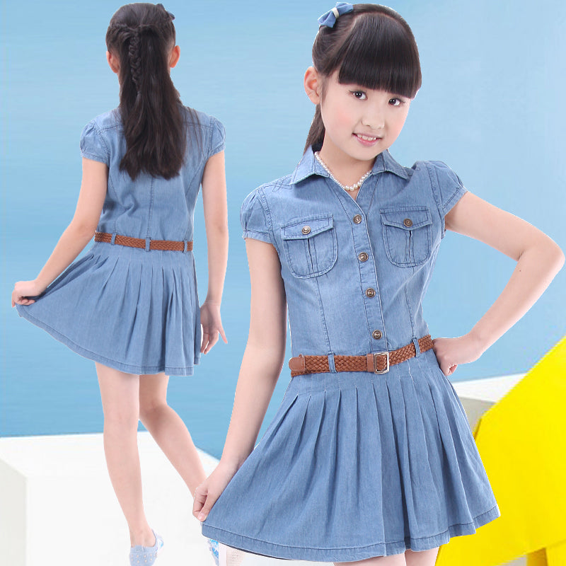 Mini Denim Pleated Dress - fazbima