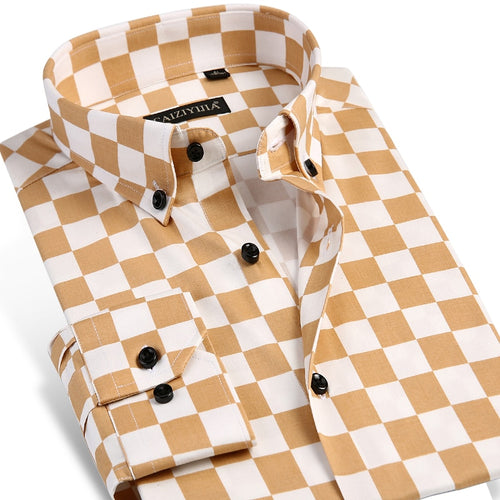 Checkerboard Print Long-sleeve Shirt - fazbima
