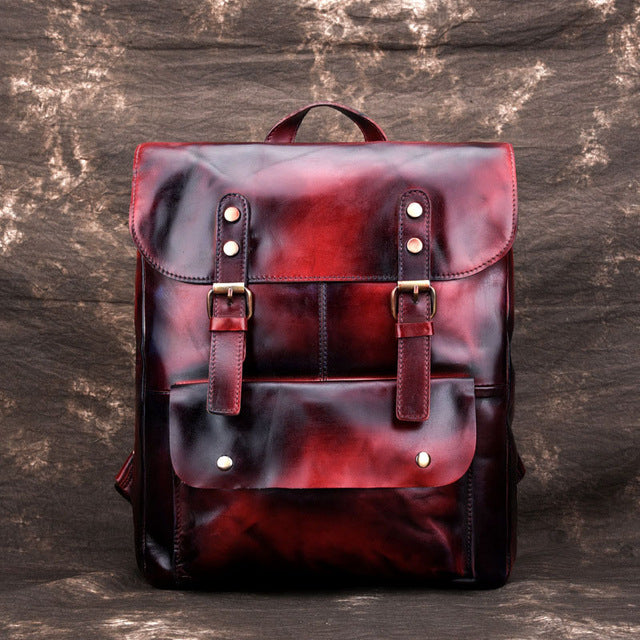Cowhide Vintage Leather Embossed Backpack - fazbima
