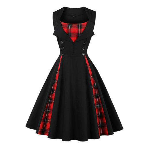 Red Plaid Print Button Pin up Sleeveless Dress - Fozbima Accessories