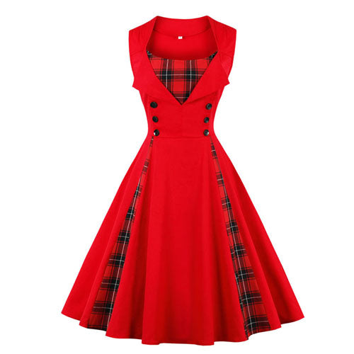 Red Plaid Print Button Pin up Sleeveless Dress - fazbima