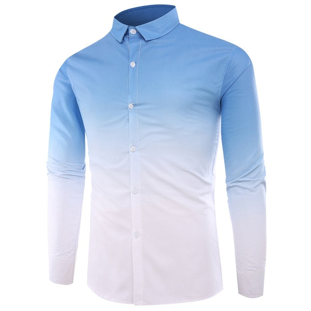 Geometric Gradient Color Casual Shirt - fazbima