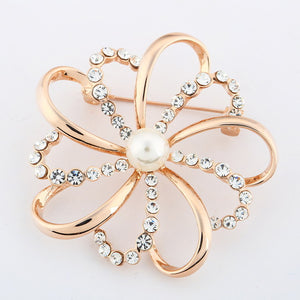 Brooches  Vintage Crystals Imitation Pearl Flower - fazbima