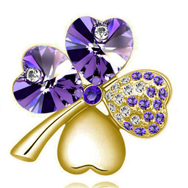Brooches Crystal four leaf Clover - fazbima