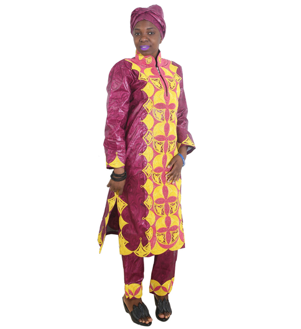 Quality Embroidery Lady Tops With Pants Scarf 3Pcs Dashiki