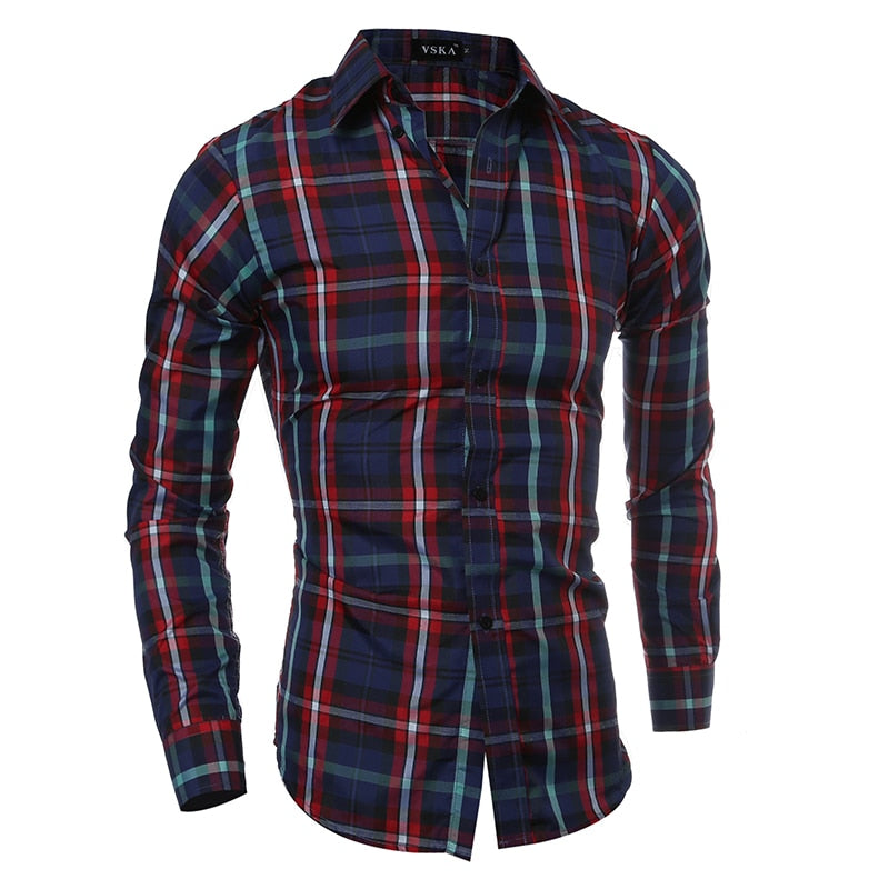 Plaid Slim Fit Casual Long Sleeve Shirt - fazbima