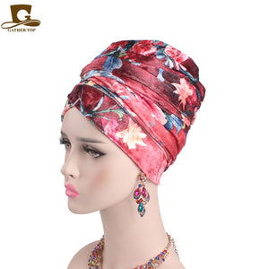 Luxury Floral Velvet Long Tube Head Wrap - fazbima