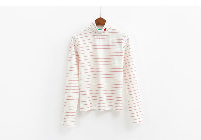 Fashion Striped Candy Colour Hearts T Shirt - fazbima