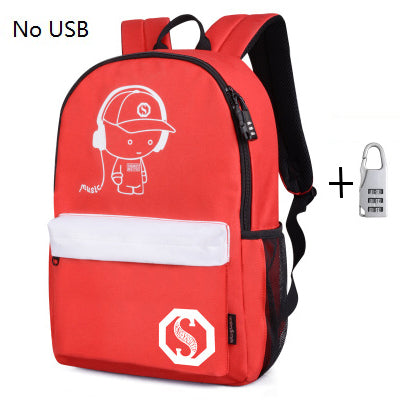 Fashion Luminous Animation USB Charge, Anti-theft Laptop Backpack - fazbima