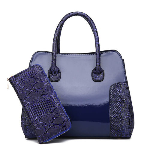 Luxury Quality Patent Leather Handbag 2 Sets - fazbima