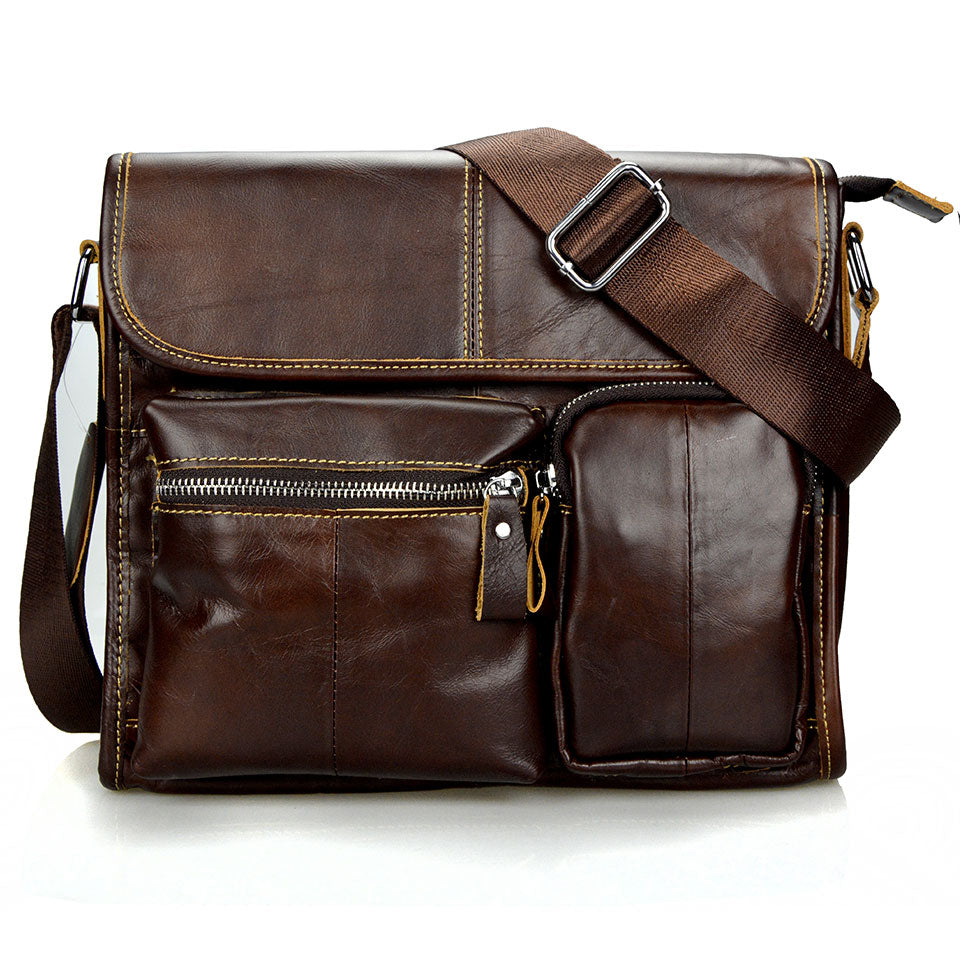 Fashion Oil Wax Vintage Leather Messenger Bag - fazbima