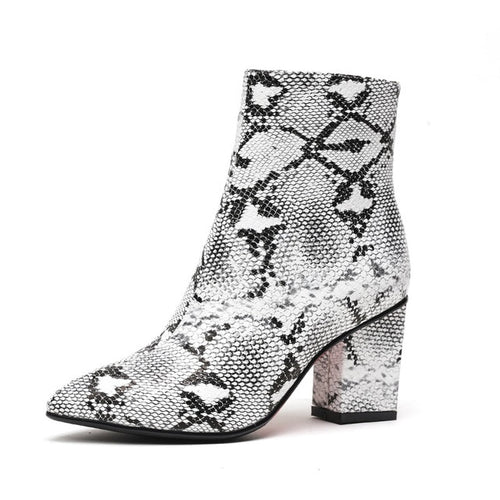 Snake Print Wet Kiss Ankle Boots
