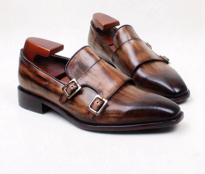 Double Monk Straps Brown Patina Loafer - fazbima