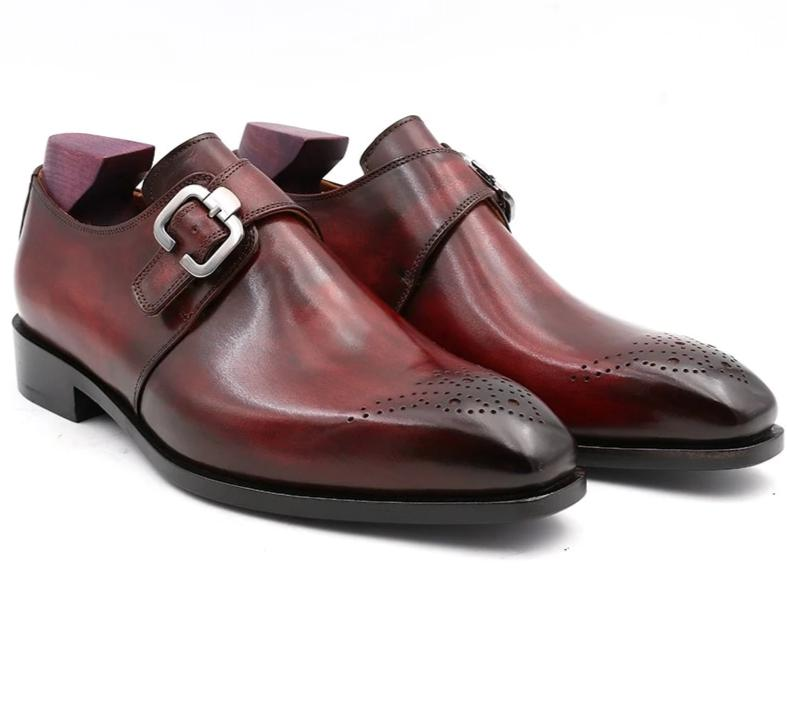 Shoe,Custom Blake Stitch Men's Monk Straps Office Shoe