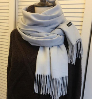 Solid Color Cashmere Scarves with Tassel - fazbima