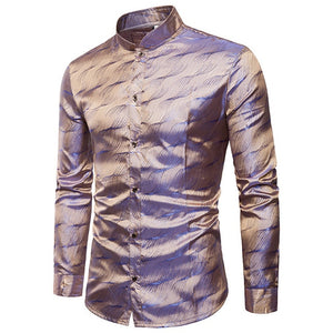 Silk Satin Swallow Collar Long Sleeve Shirt - fazbima