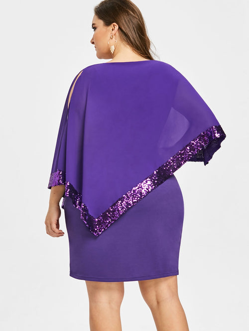 Sexy Sequined Overlay Capelet Dress