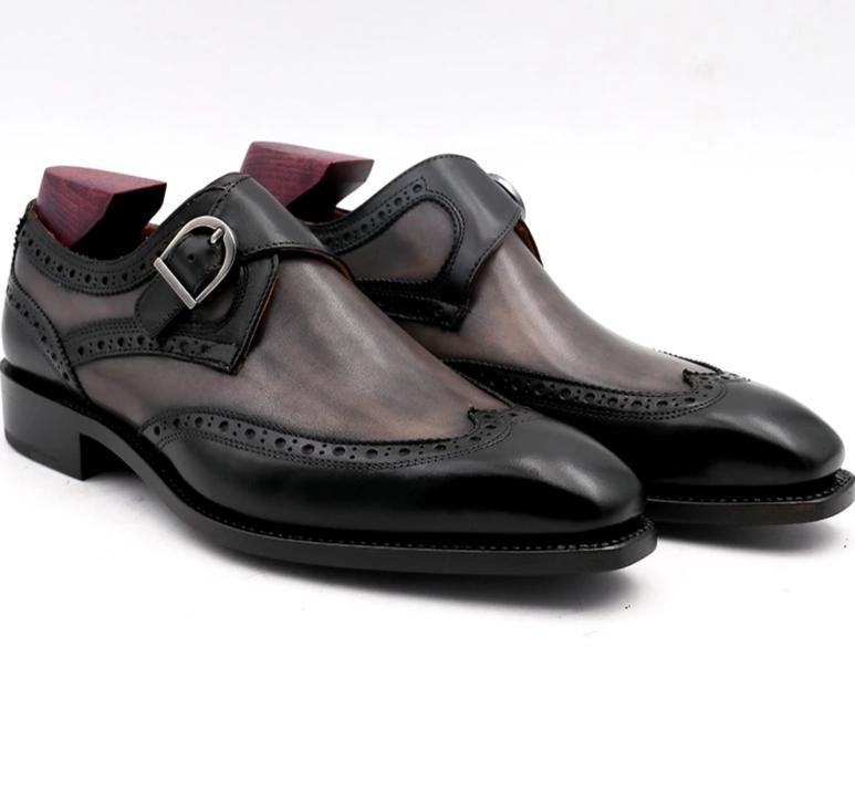 Shoe,Hand-Painted Patina Gray Black Double Monk Straps Buckle Shoe