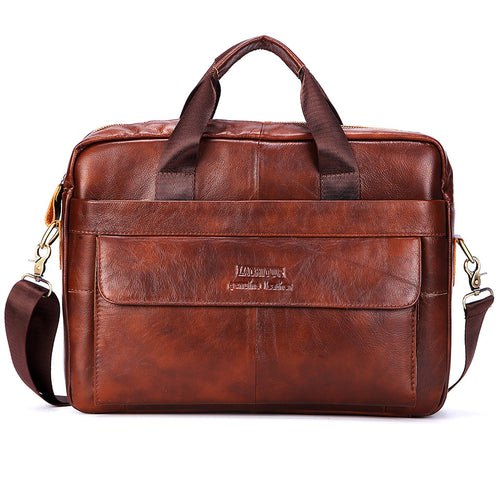 "Large Leather 16"" Laptop Briefcase Bag - fazbima"