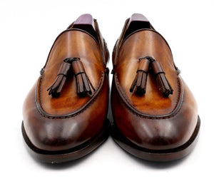Shoe,Bespoke Blake Stitch Handmade Patina Brown Tassels Slip-on loafer