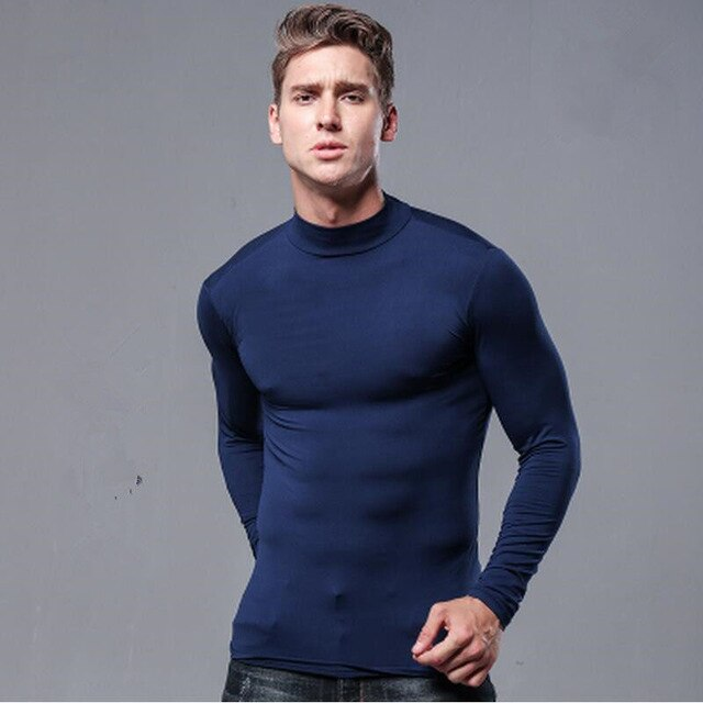 blue half turtleneck