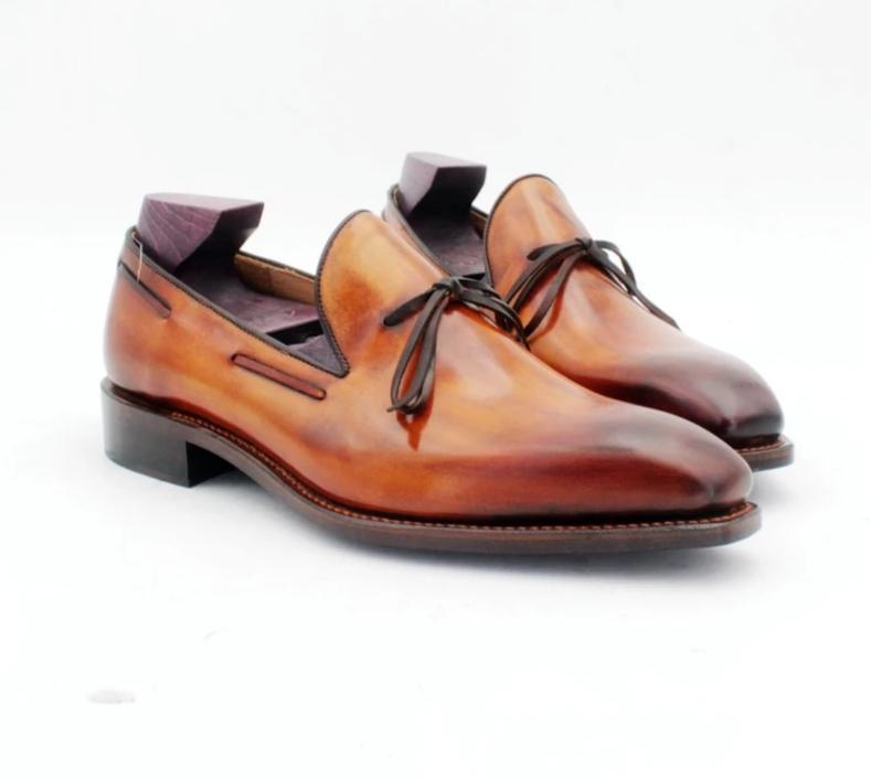 ,Handmade Bow Tie Patina Brown Boat Shoe