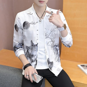 Jacket,New Fashion Trend Windproof Sunscreen Print Casual Zip Jacket