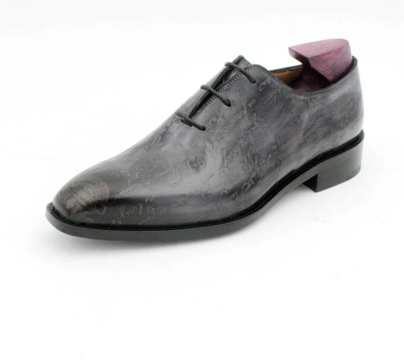 Shoe,Toe Carving Design Gray Whole Cut Shoe