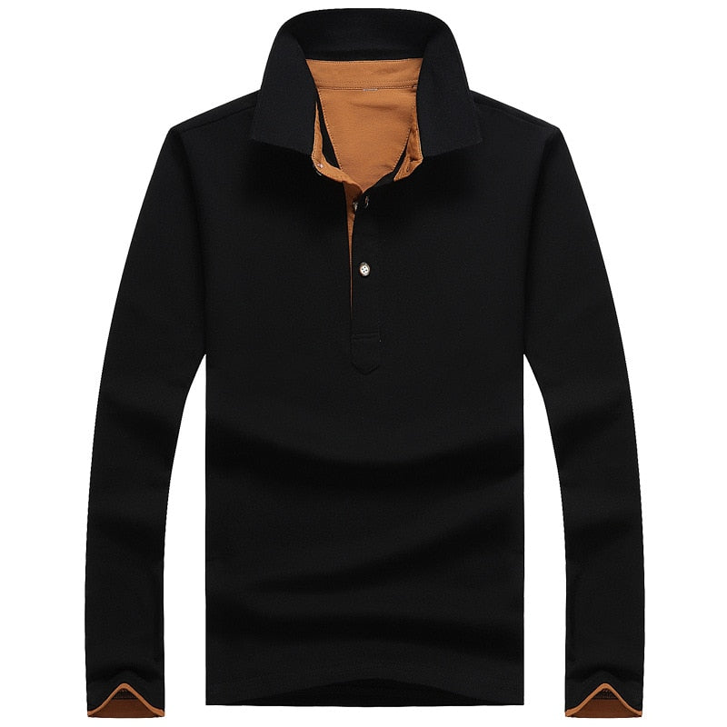 ,Solid Colour  Long-Sleeved Cool Men's Polo Shirt