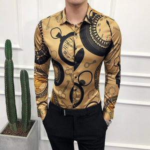Men's High-end Fashion Long-sleeved Shirt - fazbima