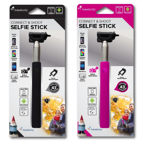 "Travelocity Connect & Shoot Selfie Stick with Button - Pink, Black With 43"" Extension - 480 pc Lot"