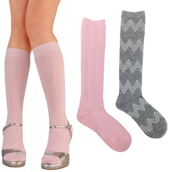 Olivia & Joy 2 Pair Pink Knee Length Socks Size 9/11 - 156 pk Lot (2 pair packs)